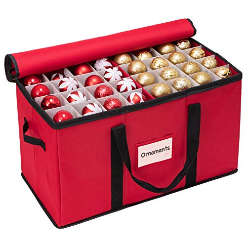 WBHome Christmas Ornament Storage Box with Lid, 3''& 4'' Compartment Storage Container with Adjustable Dividers, Keeps 114 Holiday Ornaments & Decoration Accessories, Red