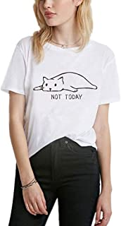 YEMOCILE Women's Not Today Crazy Cat T Shirts Graphic Cute Funny Short Sleeve Cotton Tops Tee