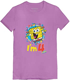 Official Spongebob - 4th Birthday I'm 4 Toddler/Kids Girls' Fitted T-Shirt