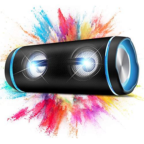 Kabelloser Bluetooth Lautsprecher,40W Lichteffekte Tragbarer Speaker mit DSP,TWS Stereo Sound,Intensiver Bass, Bluetooth 5.0 Wasserdicht Soundbox für Outdoor, Party