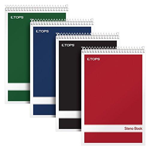 "TOPS Spiral Steno Books, 6"" x 9"", Gregg Rule White Paper, Assorted Covers, 80 Sheets per Book/4 Books per Pack (80220)"
