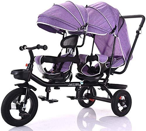 Triciclo de niños de múltiples funciones, doble pedal de bicicleta con dos vías rotación del asiento, silla de paseo con toldo desmontable y asa de empuje, de alto carbono marco de acero / titanio de