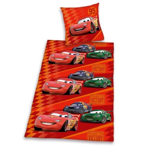 Herding 463086050412 Cars Bettwäsche, 80 x 80 cm + 135 x 200 cm mit Knopfleiste , Biber