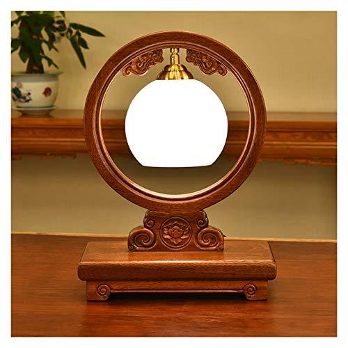 lámpara de mesa Lámparas de mesa tradicional de palo de rosa Talla de la lámpara de cristal blanca Pantalla retro Mesita de noche LED for el dormitorio de la sala de la familia Lámpara Noche
