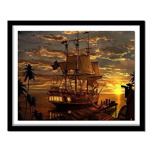 Doe-het-zelf 5D-set diamantschilderijen, piraat, boot, schip, diamant, kruissteek, handwerk, voor thuis, wanddecoratie
