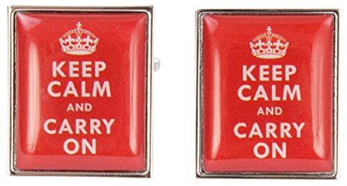 Zennor Red Keep Calm and Continuer boutons de manchette de