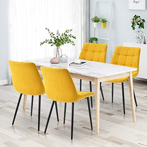 Keebgyy Juego de 4 sillas de comedor con cojines de tela, sillas auxiliares, sillas auxiliares, sillas de invitados con patas de metal para comedor, salón, cocina (amarillo)