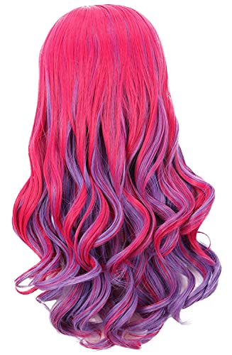Yuehong Long Wavy Mixed Purple Red Anime Fashion Girl's Cosplay Wig Party Hair Wigs (Kid)