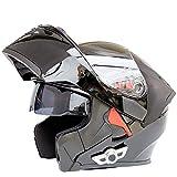 Casques moto intégraux Bluetooth, Modular Flip Dual Protector Casque anti-buée pour adulte, Motocross, microphone intégré pour...