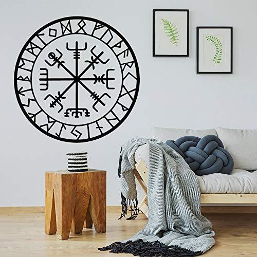 Diy pegatinas de pared autoadhesivas cita mural PVC extraíble impermeable arte vinilo calcomanía decoración del hogar baño niños vivero símbolo vikingo 57cmx57cm