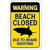 安全標識、サメの目撃のために警告ビーチが閉鎖されました3479ヴィンテージアルミニウムメタルプラーク警告サインティンアート壁の装飾店舗用ホームデコレーションバーガーデンコーヒー