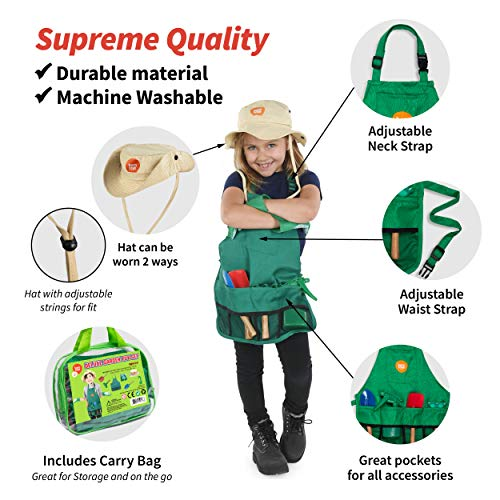 Born Toys Kids Gardening Set, with Kids Gardening Tool Set, Kids Gardening Gloves and Washable Apron for The Ultimate Kids Gardening kit and Dress up Clothes or Role Play