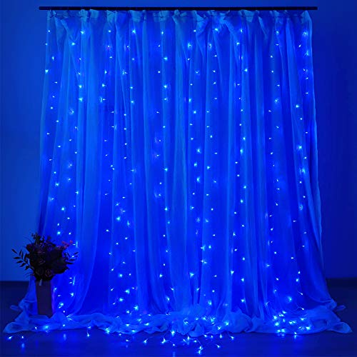 Dooit 9.8ft6.5ft 300LED Curtain String Lights 8 Modes 29v UL Plug in for Christmas Party Wedding Ceremony Home Garden Bedroom Indoor/Outdoor Decorations (Blue)