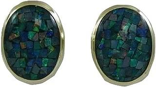 Vics Fine Jewelry Mosaic 16.0 mm x 12.0 mm Opal Earring with 14k Yellow Gold Omega Backs