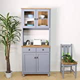 フレンチカントリー家具 食器棚 カップボード 幅78 ブルーグレー 手作り ナチュラル 北欧カントリー風 カントリー調