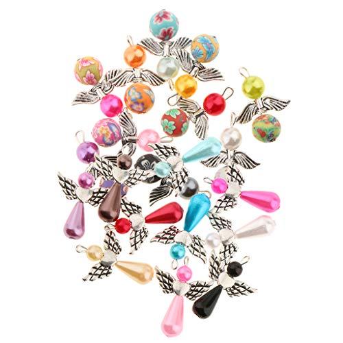 Harilla 20 Colgantes de Perlas con Dijes de Alas de ángel Bailando Mezclados para Manualidades de Fabricación de Joyas