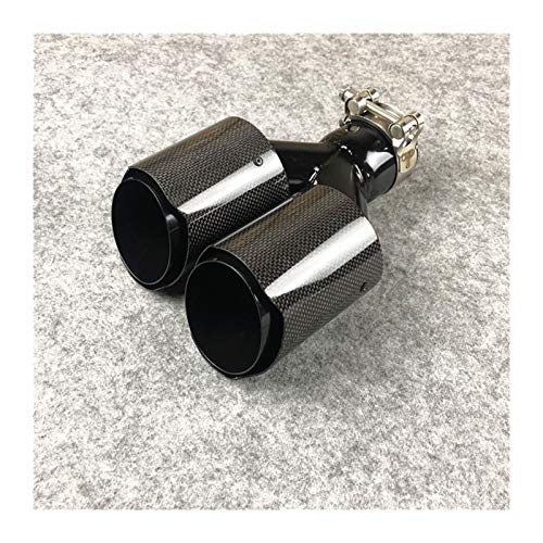 Auspuffendrohre für Autoteile Universal Doppelschwanzrohr Endrohre Auspuffrohr Heckschacht 1 Stück Y Style Glossy Carbon Black Edelstahl (Größe : In 73 Out 101MM)