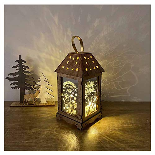 HEWYHAT Christmas Decoration Lantern, Glass Wood Wind Lamp Hanging Fairy Tale Decorative Light, Santa Claus Holiday Decoration Gift,S,G