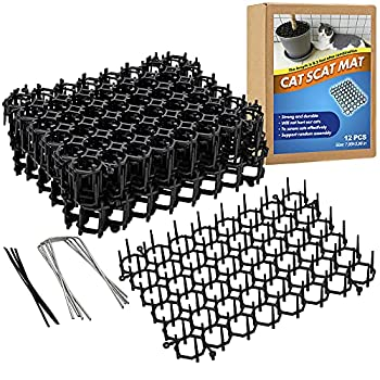 Ley s Scat Mat for Cats Cat Deterrent Mat with Spikes for Indoor/Outdoor Pet Repellent Mats Dog Network Digging Stopper Prickle Strip 12 Pack/Set