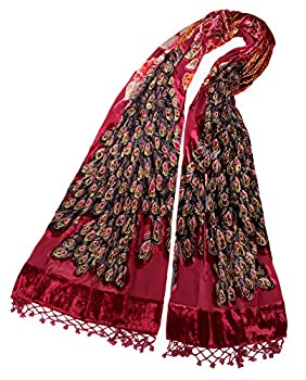 DQSSYTTX Scarf Peacock Beaded Tassel Indian Style Pashmina Wrap Shawl Long Velvet Made by Hand Shining