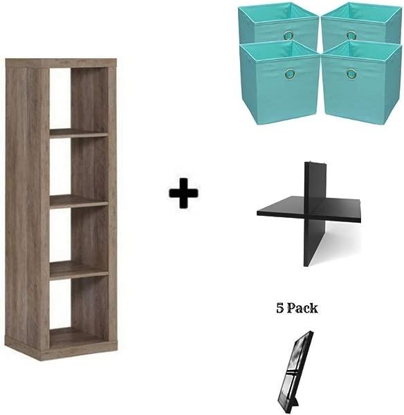 Better Homes And Gardens Sturdy Organizer Storage Bookcase Bookshelf 4 Cube Rustic Gray