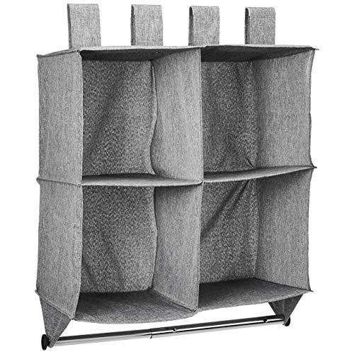 AmazonBasics - Estantería para colgar en armario tipo cubo, 4 compartimentos, con barra para colgar