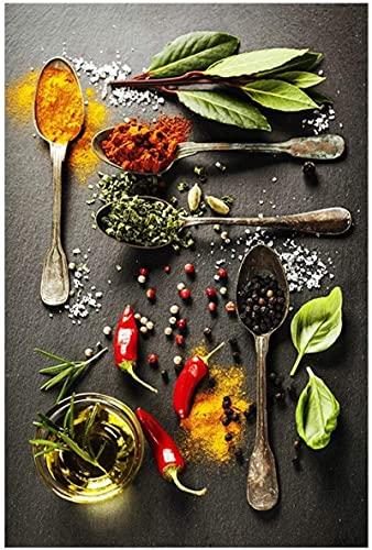 Pintura moderna cocina ingrediente alimentario Pintura de la lona printposter Personalidad creativa Naturaleza muerta imagen arte vivo Decoración70x90cm sin marco