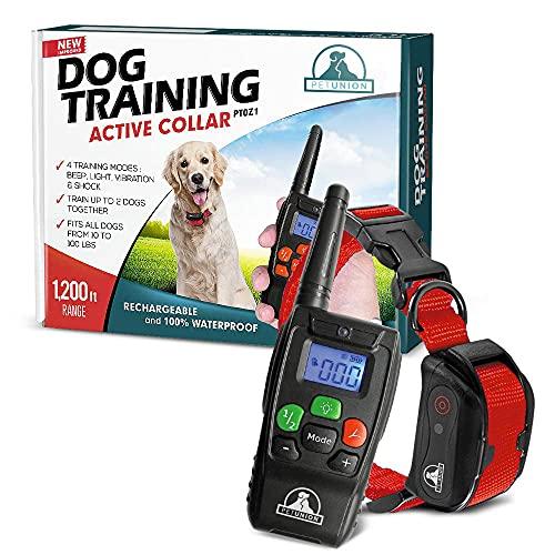 Pet Union PT0Z1 Premium Dog Training Shock Collar, Fully Waterproof, 1200ft Range (Red)