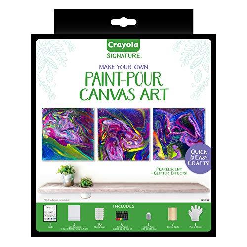 Crayola Siganture Paint-Pour Canvas Art Painting Kit, Marbleizing Mini Canvas, 29 Piece (Pack of 1)