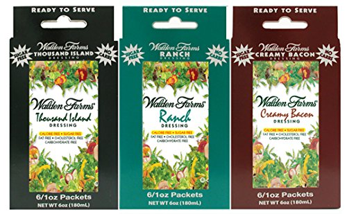 3 Boxes (18 Packets): Walden Farms Salad Dressing 1 Oz Packets (1 Box- Ranch; 1 Box- Creamy Bacon; 1 Box- Thousand Island)