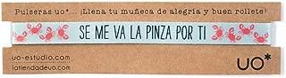 UO- Pulsera estampadoSe ma va la Pinza por ti por ti, Color Turquesa y Coral (Se