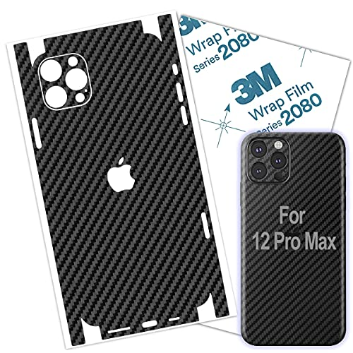 iPhone 12 ProMax Skin Carbon Fiber 3M Film Skin Wrap Protective Around Borders and Back Thin 3D Elegant Skin (for 12 PRO MAX)