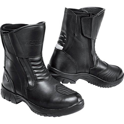 Reusch Motorradschuhe, Motorradstiefel kurz Touren Leder Stiefel 2.0 kurz, gepolsterte Komfortzonen, Waden-Weitenverstellung, doppelter Reißverschluss, Schwarz, 45