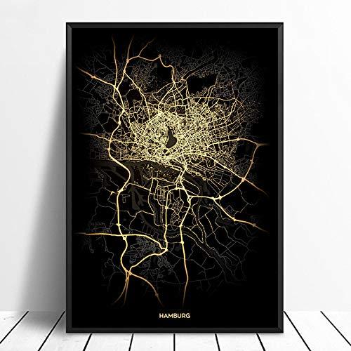 Leinwanddruck,Hamburg Schwarz Golden Custom Welt Stadtplan Poster Bilder Drucken Auf Leinwand Im Nordischen Stil Wand Kunst Leinwand Gemälde Für Die Wohnkultur Kein Rahmen, 28 X 40 Zoll (70 Cm X 100