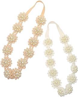 Baby Toddler Elastic Chiffon Flower Headbands Princess Girls Hand Sewing Beads Flower Headwear Nylon