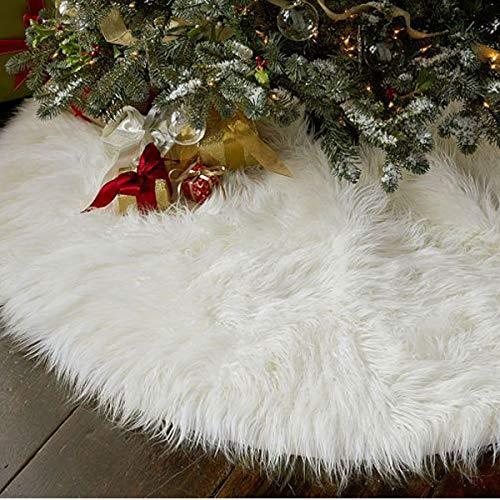 Weiße Kunstpelz Weihnachtsbaum Rock Schnee Baum Röcke Christmas Tree Skirt für Weihnachtsfeiertag Dekorationen Durchmesser 78cm