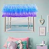 Mermaid Valance Curtains Frozen Valance for Girls Bedroom Windows Baby Kids Nursery Room Purple Blue 52 × 16 inch