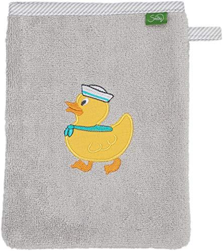 Smithy Waschlappen aus 100% Baumwolle - saugstarker und weicher Öko-Tex-100 zertifizierter Waschhandschuh für Kinder in grau mit Ente