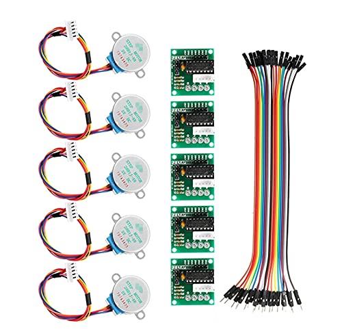 JIAN 5 stücke 5V Schrittmotor Set mit ULN2003 Treiberbrett Dupont Kabeldurchmesser 28mm Fit für Arduino Exquisite