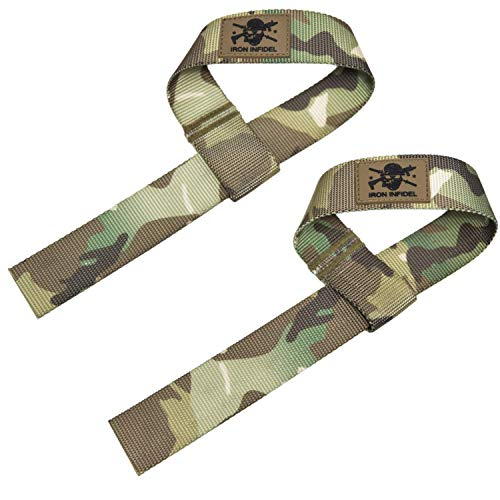 Iron Infidel Weight Lifting Straps- Wrist Straps for Weight Lifting, Deadlifting, Exercise, Crossfit, Strength Training, Olympic Lifts- Pair of Gym Straps for Grip Strength On Heavy Lifts- Multicam