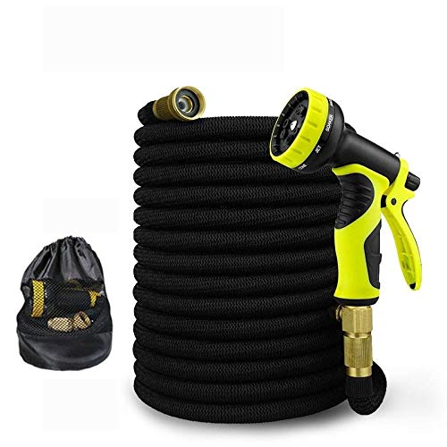 16ft-100ft Garden Watering Slang Expandable flexibele Tuinslang 3/4 Brass Connector High Pressure Car Wash Slang spuitpistool Suit (Color : Black, Lengh : 100ft 30m)