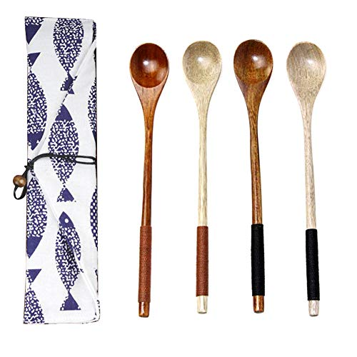 Teaspoons Cucharillas de Cafe Naturale Cucharillas Madera, Mango Largo Cucharillas de Postre para Cocina 4 piezas