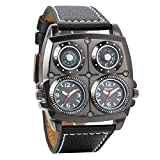 Avaner Mens Punk Watch, Unique Big Face Dual Time Zone Wristwatch, Analog Quartz Leather Strap Sport Watches with Decorative Compass and Thermometer Dial