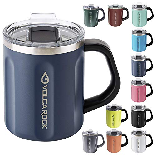 VOLCAROCK 16oz Coffee Mug Vacuum Insulated Camping Mug with Lid Double Wall Stainless Steel Travel Tumbler Cup Coffee Thermos Outdoor Great for Any Beverage Navy Blue 1 Pack