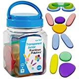 Rainbow Pebbles - Junior - Transparent - Mini Jar - Ages 18M+ - Sorting and Stacking Stones - Early Math Manipulative for Children - First Counting and Construction Toy