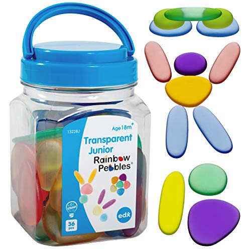 edx education Junior Rainbow Pebbles - Clear Colors - Mini Jar - Ages 18M+ - Sorting and Stacking Stones - Early Math Manipulative for Children - First Counting and Construction Toy