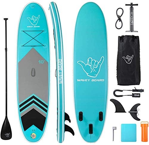 "WAVEY BOARD Inflatable Stand Up Paddle Board 6"" Thick SUP Board PVC with Adjustable Paddle Backpack Pump and Bottom Fin for All Skill Levels Youth & Adult Surfboard"