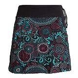 Vishes - Alternative Bekleidung - Kurzer Damen Baumwoll-Rock Bunt mit Mandalas und Blumen Bedruckt schwarz 36