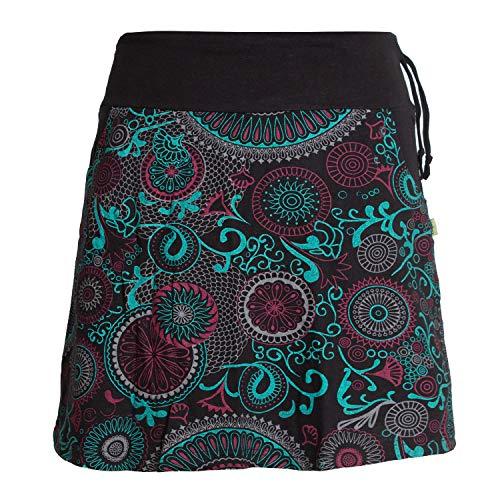 Vishes - Alternative Bekleidung - Kurzer Damen Baumwoll-Rock Bunt mit Mandalas und Blumen Bedruckt schwarz 48