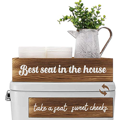 Agantree art Bathroom Decor Sign Box -Best Seat in The House & Take A Seat Sweet Cheeks -Toilet Paper Holder Stand Storage Diaper Organizer, Farmhouse Rustic Decor Gift for Housewarming
